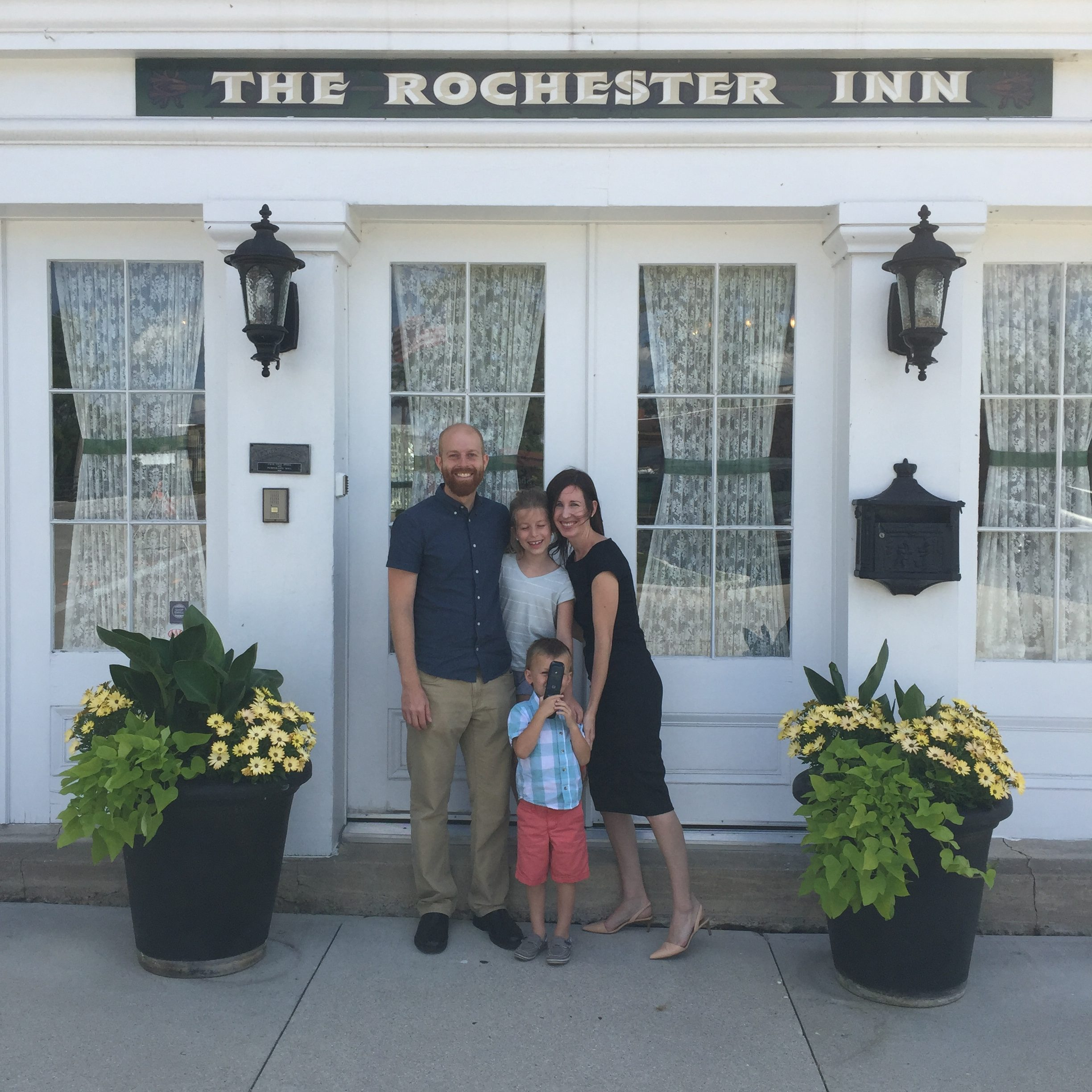 York family outside of The Rochester Inn, Sheboygan Falls, WI