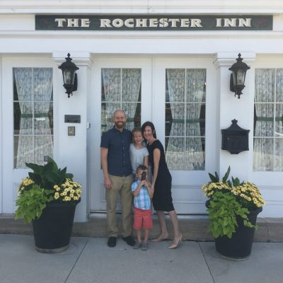York family outside of The Rochester Inn, Sheboygan Falls, WI