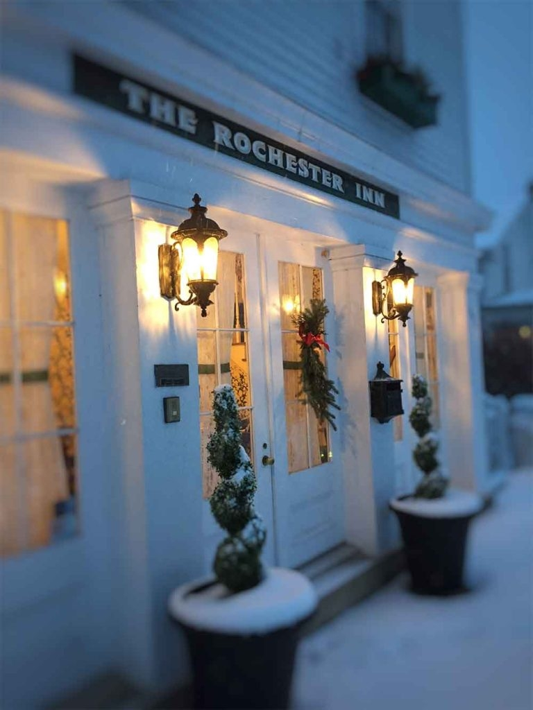 the rochester inn winter front door